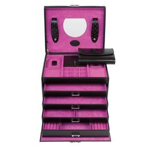 Schmuckkoffer Windrose Merino Moda schwarz pink Samtfutter