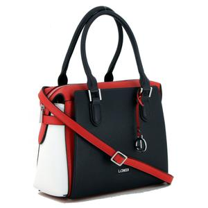 Damenhandtasche L.Credi Eleonora Marine dunkelblau weiß rot