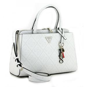 Girlfriend Satchel Maddy Guess White Handtasche weiss Anhänger