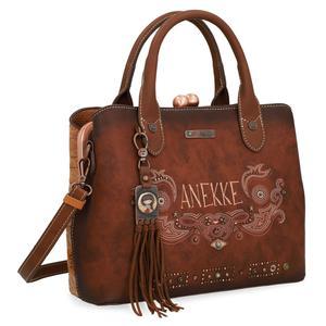 Handtasche Anekke Arizona Fransen Kiss Lock braun bestickt