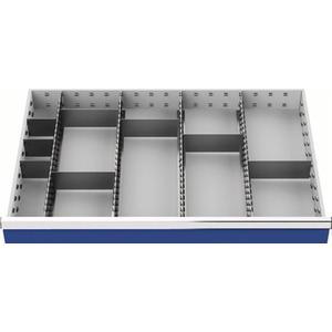 Schubladenunterteilungsmaterial Fronthöhe 150 mm 4 Längs-/8 Querteiler