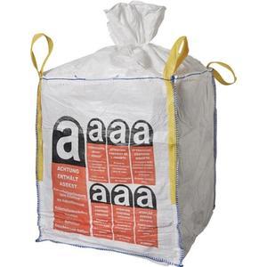Transportsack Big Bag Länge 900 mm Breite 900 mm Höhe 1100 mm Tragfähigkeit 1000 kg Aufdruck: Asbes