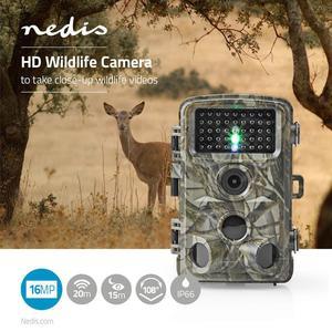 Nedis Wildlife Kamera / 1080p@30fps / 16.0 MPixel / 5 MPixel CMOS / IP56 / Schwarz No-Glow IR / Nachtsicht / Blickwinkel: 90 ° / Bewegungssensor / Erfassungswinkel: 120 ° / Erfassungsbereich: 20.0 m / Monitorgröße: 2.4 / LCD Screen / Braun / Grün