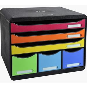 EXACOMPTA Schubladenbox Store Box Maxi 6 Schubladen Classic Harlekin (306798D)
