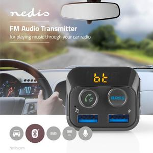 Nedis Kfz Audio FM Transmitter / Fest / freisprechend / 1.0 / LED Bildschirm / USB Ladung / Bass Boost
