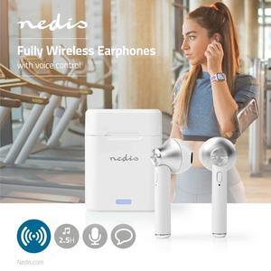 Nedis Vollständig drahtlose Kopfhörer / Bluetooth® / Drücken Sie Strg / Ladegehäuse / Eingebautes Mikro / Stimmkontrolle / Weiss