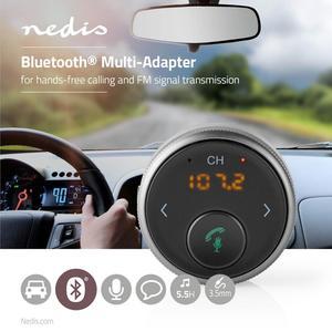 Nedis Bluetooth® Multi Adapter / Anschlüsse - Ausgang: 1x 3.5 mm / SBC / Bis zu 5,5 Stunden / Eingebautes Mikro / FM-Sender / Lautstärke-Regler / Stimmkontrolle / Ja / Automatische Ausschaltfunktion / Schwarz/Grau