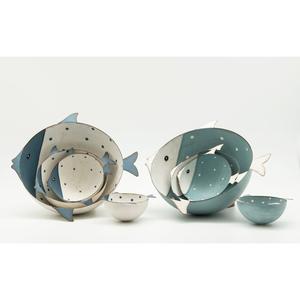 H-Line, Schale Fisch, 11x13,5x4,5cm, weiss/blau