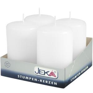 Jeka Kerzen Jeka, Stumpen 80/50mm 4er Packung (WEISS)