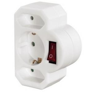 Hama Multistecker, 3-fach mit Schalter Weiß