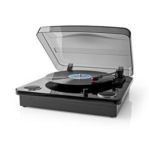 Nedis Plattenspieler / 33 rpm / 45 rpm / 78 rpm / Riemenantrieb / 1x Stereo RCA / Bluetooth® / 18 W / Eingebauter (Vor) Verstärker / MP3-Konvertierung / MDF / ABS / Schwarz