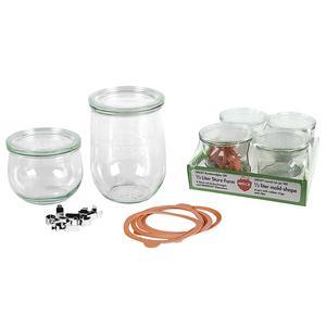WECK Rundrandglas Tulpe 0,5 l 4er Tray mit Deckel 100mm, Ring und Klammern ()