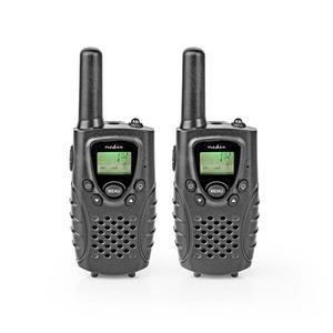 Nedis Walkie-Talkie-Set / 2 Hörer / Bis zu 8 km / Frequenzkanäle: 8 / PTT / VOX / Bis zu 2.5 Hours / Kopfhörerausgang / Schwarz