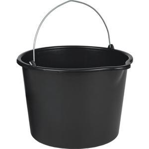 Baueimer 20 l mit Tülle schwarz Polyethylen