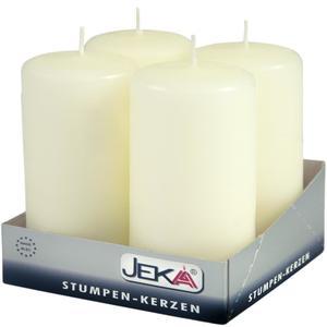 Jeka Kerzen Jeka, Stumpen 100/50mm 4er Packung (ELFENBEIN)