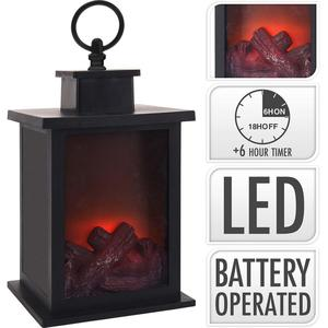 S.I.A LANTERN FIREPLACE / LED / 24 CM / TIMER / BATTERY OPERATED