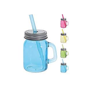 Trinkglas mit Trinkhalm 75ml 4er Satz ()