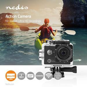 Nedis Action Cam / 4K@60fps / 20 MPixel / Wasserdicht bis: 30.0 m / 90 min / WLAN / App erhältlich für: Android™ / IOS / Inkl. halterung / Schwarz
