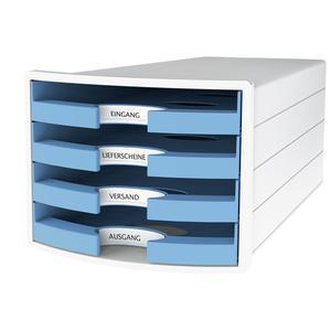 Schubladenbox IMPULS DIN A4/C4 4 Trend Colour hellblau (1013-54)