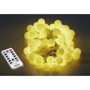 HELLUM LED Lichterkette Ball 50LED 2 Funktionen Farbe und warmweiß 540cm IP44 3xAA Batterien (660609