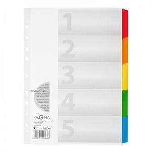 PAGNA Register A4 5tlg. Tabe 5-farbig weiß (31000-08)