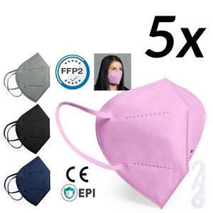 FFP2 Maske Mundmaske Mundschutz 5 Stk rosa mit Nackenspange