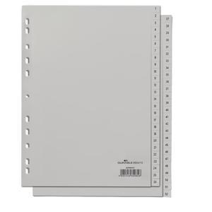 DURABLE Zahlenregister A4 gepr Taben 1-52 PP volldeck. grau (650410)