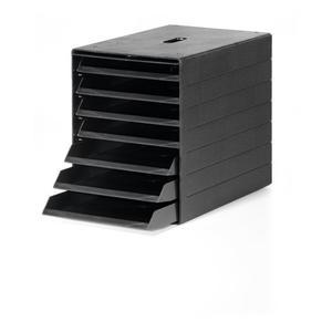 DURABLE Schubladenbox 7 Schubladen m. versenkbarer Frontklappe schwarz H322xB250xT365 mm