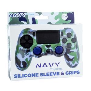 PS4 Silicone Skin + Grips Camo Navy Englisch