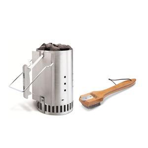 Weber Anzündkamin Rapidfire + Grillbürste mit Bambusholzgriff SET