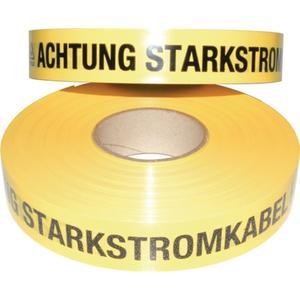 MULTICOLL Trassenwarnband Aufdruck Achtung Starkstromkabel Breite 40 mm Länge 250 m gelb