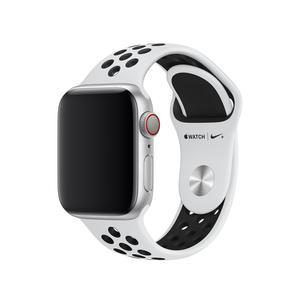 Apple Watch 40 mm Nike Sportarmband, pure platinum/schwarz, S/M, M/L >