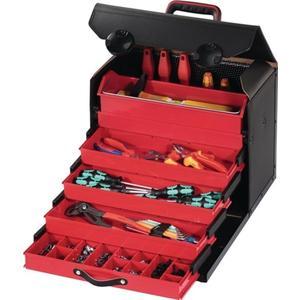 PARAT Werkzeugtasche B.410xT.220xH.310mm 28l Rindleder abschließb. m.5-tlg. Schubladeneins.