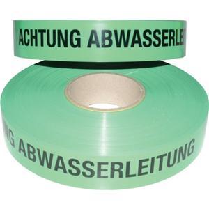 MULTICOLL Trassenwarnband Aufdruck Achtung Abwasserleitung Breite 40 mm Länge 250 m grün