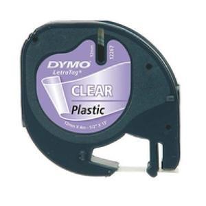 DYMO Etikett LetraTag 12mmx4m schwarz->transp. Plasti (S0721550)