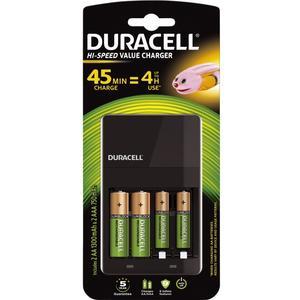 Duracell Ladegerät 4 Stunden Hi-Speed Value +Akkus 2xAA 1300mAh+ 2xAAA 750mAh
