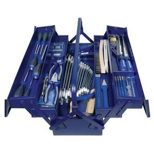 Werkzeugsortiment 60-teilig im Stahlblechkasten inklusive Spannungsprüfer