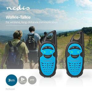 Nedis Walkie-Talkie-Set / 2 Hörer / Bis zu 3 km / Frequenzkanäle: 3 / PTT / Bis zu 3 Hours / Blau / Schwarz