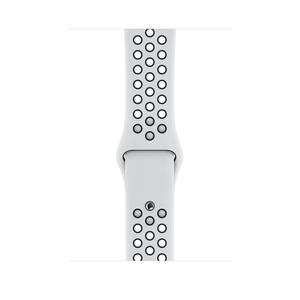 Apple Watch 44 mm Nike Sportarmband, pure platinum/schwarz, S/M, M/L >