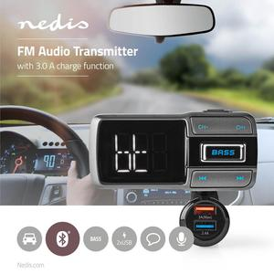 Nedis Kfz Audio FM Transmitter / Schwanenhals / freisprechend / 2.0 / LED Bildschirm / USB Ladung / Schnellladung / Bass Boost