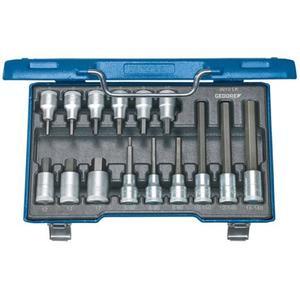 GEDORE Steckschlüsselsatz IN 19 LKM 15-teilig 1/2 Zoll 5 - 17 mm für Innensechskantschrauben