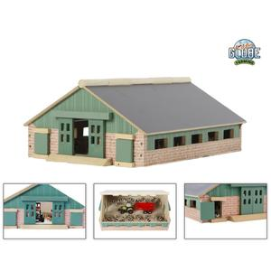 Kids Globe Bauernhof / Kuhstall 1:87, Maße 24 x 30 cm, Dach klappbar, Holz