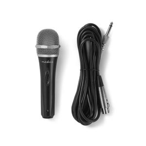 Nedis Kabelgebundenes Mikrofon / Cardioid / Abnehmbares Kabel / 5.00 m / 50 Hz - 15 kHz / 600 Ohm / -72 dB / Ein-/Ausschalter / Metall / Grau / Schwarz