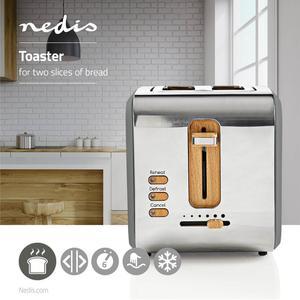 Nedis Toaster / Soft Touch Serie / 2 Steckplätze / Bräunungsstufen: 6 / Auftaufunktion / Grau