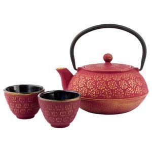 Gusseisen Teekanne Shanghai inkl. 2 Tassen, pink/gold dreiteilig