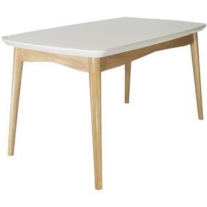 Esstisch Agate aus Holz und Glas - Moderner Esszimmertisch mit Massivholz Beinen - Küchentisch mit weißer Glasplatte