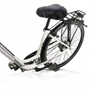 Lammfell-Fahrradsattelbezug anthrazit