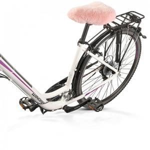 Lammfell-Fahrradsattelbezug rosa