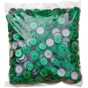 Kronenkorken 26mm Grün mit Sterne gelb - 1000 Stück