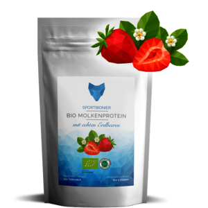 Bio Molkenprotein mit echten Erdbeeren 500 g